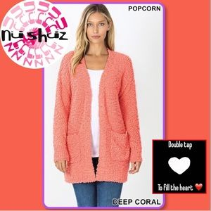 Coral Soft Texture Open Pocket Long Sleeve Sweater